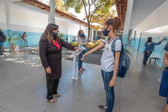 Na Escola Municipal Jaime Morais Quintão, localizada no bairro Jardim Panorama, assim como na demais escolas, o retorno acontece com  segurança e certa fluidez